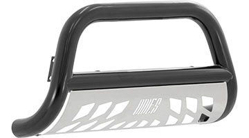 Aries 3 inch bull bar black finish with stainless skid plate knockout