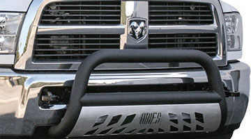 Aries 3 inch pro series bull bar up close on a dodge ram