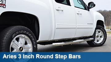 Aries 3 inch round step bars - cab length
