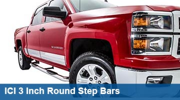 ICI 3 inch round step bars - cab length