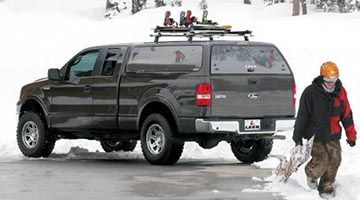 Leer 100XQ Camper Shell on a Ford in the snow